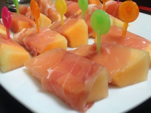 Melon wrapped in proscuitto